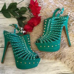 Sage and gold peep toe heels